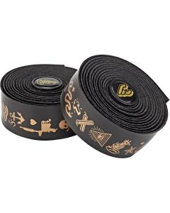 CINELLI MIKE GIANT GOLD VOLEE RIBBON HANDLEBAR TAPE – Black with Gold Lettering